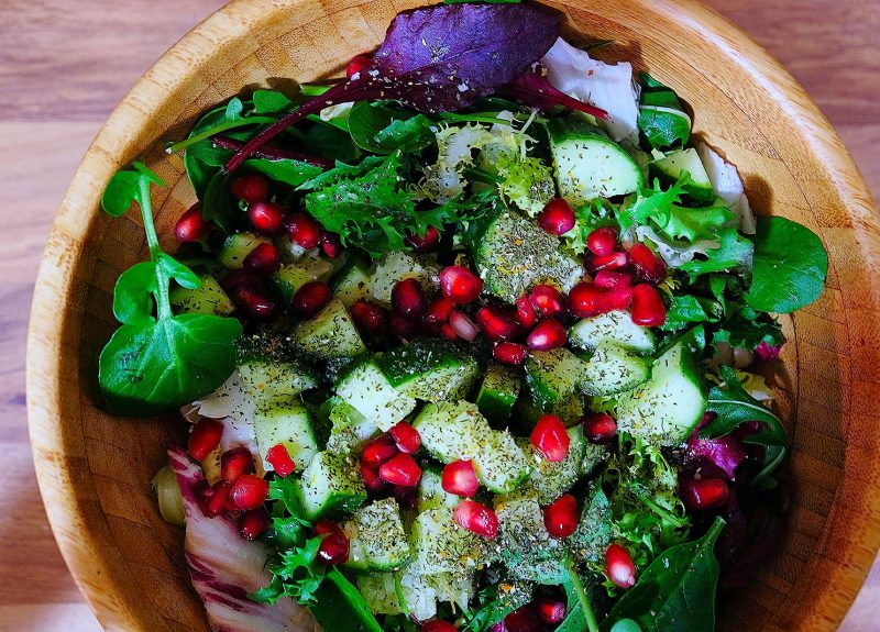 Green leafy, pomegranate salad