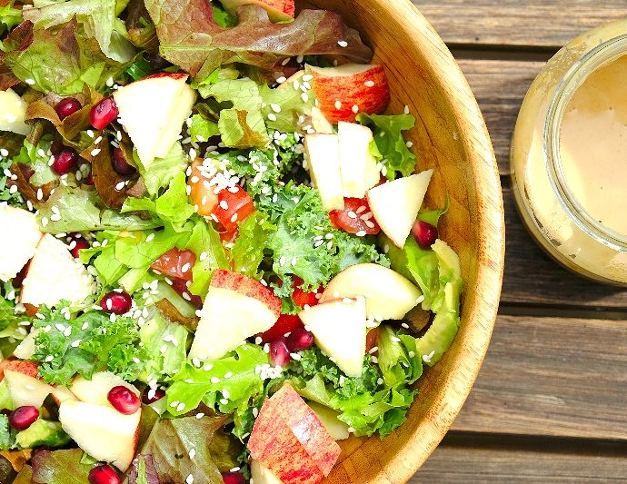 Summer salad with tahini dressing