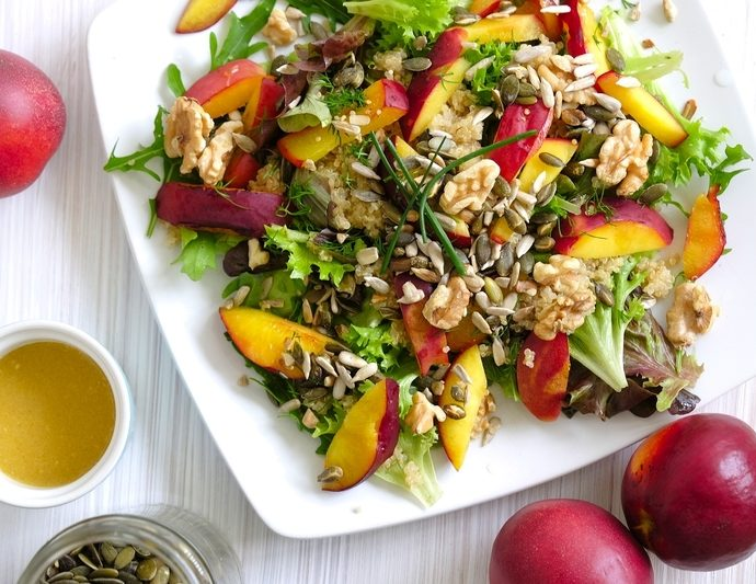 Griddled nectarines & quinoa salad